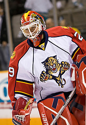 March 13, 2010; San Jose, CA, USA; Florida Panthers goalie Tomas Vokoun (29) before the game against the San Jose Sharks at HP Pavilion. Florida defeated San Jose 3-2 in overtime. Mandatory Credit: Jason O. Watson / US PRESSWIRE
