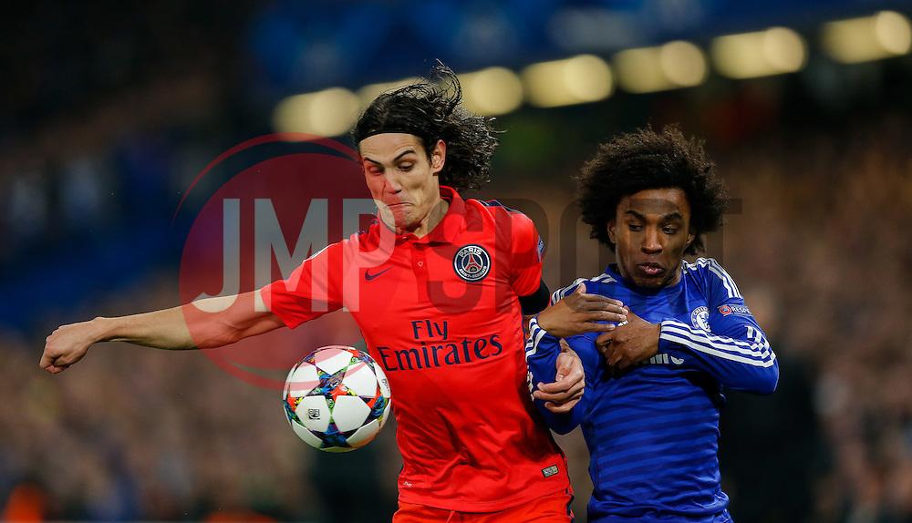 Edinson Cavani of Paris Saint-Germain and Willian of Chelsea compete for the ball - Photo mandatory by-line: Rogan Thomson/JMP - 07966 386802 - 11/03/2015 - SPORT - FOOTBALL - London, England - Stamford Bridge - Chelsea v Paris Saint-Germain - UEFA Champions League Round of 16 Second Leg.