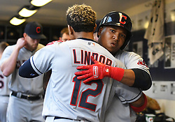 May 8, 2018 - Milwaukee, WI, U.S. - MILWAUKEE, WI - MAY 08: After hitting a solo home run in the top of the 3rd Cleveland Indians Third base Jose Ramirez (11) hugs Cleveland Indians Shortstop Francisco Lindor (12) during a MLB game between the Milwaukee Brewers and Cleveland Indians on May 8, 2018 at Miller Park in Milwaukee, WI. The Brewers defeated the Indians 3-2.(Photo by Nick Wosika/Icon Sportswire) (Credit Image: © Nick Wosika/Icon SMI via ZUMA Press)