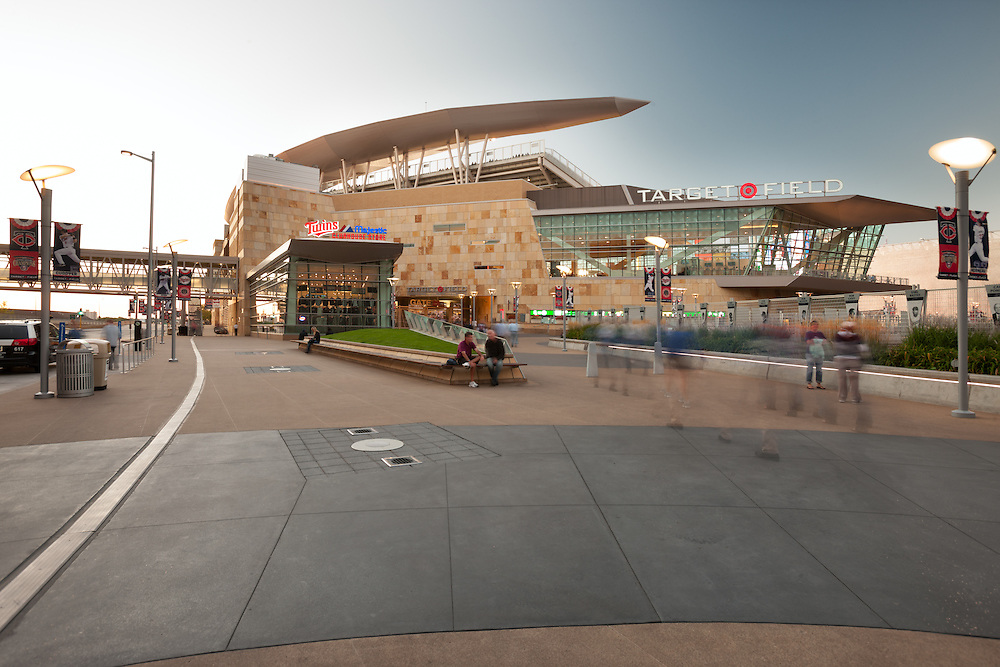 Target field, home of the Minnesota Twins, in Minneapolis, Minnesota. The open air stadium was finished in 2010 and designed by the architectural firm Populous. The exterior is made of limestone from the local area.