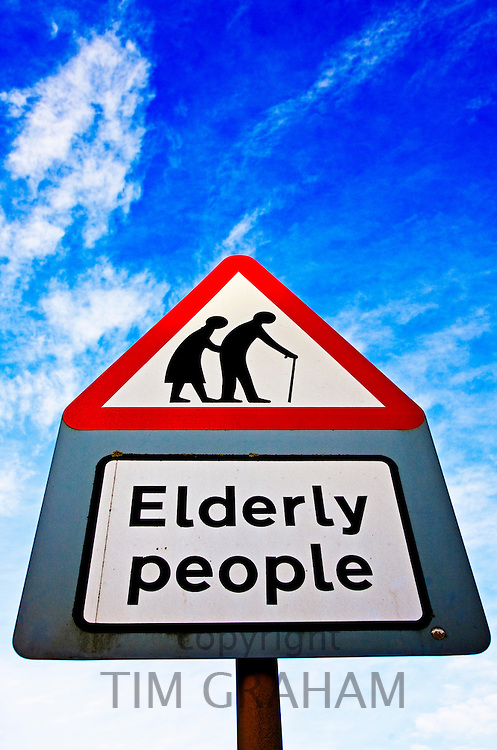 Road sign warns about elderly people crossing road, Worcestershire, United Kingdom