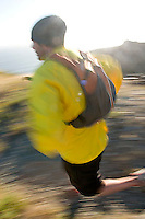 Jason Reale running near the California Coastal Trail; Golden Gate National Recreation Area. San Francisco,  CA<br />