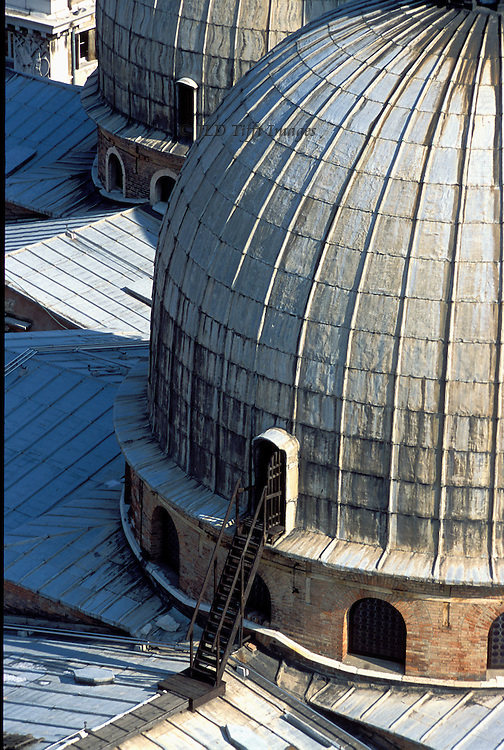 San Marco domes: detail of the main dome exterior, seen from the top of the Campanile.  This exit from the base of the dome permits access to the roof for maintenance and repair.