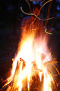 "A camp fire is built during an outside music show at a house during the Spirit of '68 sponsored Cookout and music performances at ""the Compound"" in Ellettsville near Bloomington, Indiana. May 2, 2008."