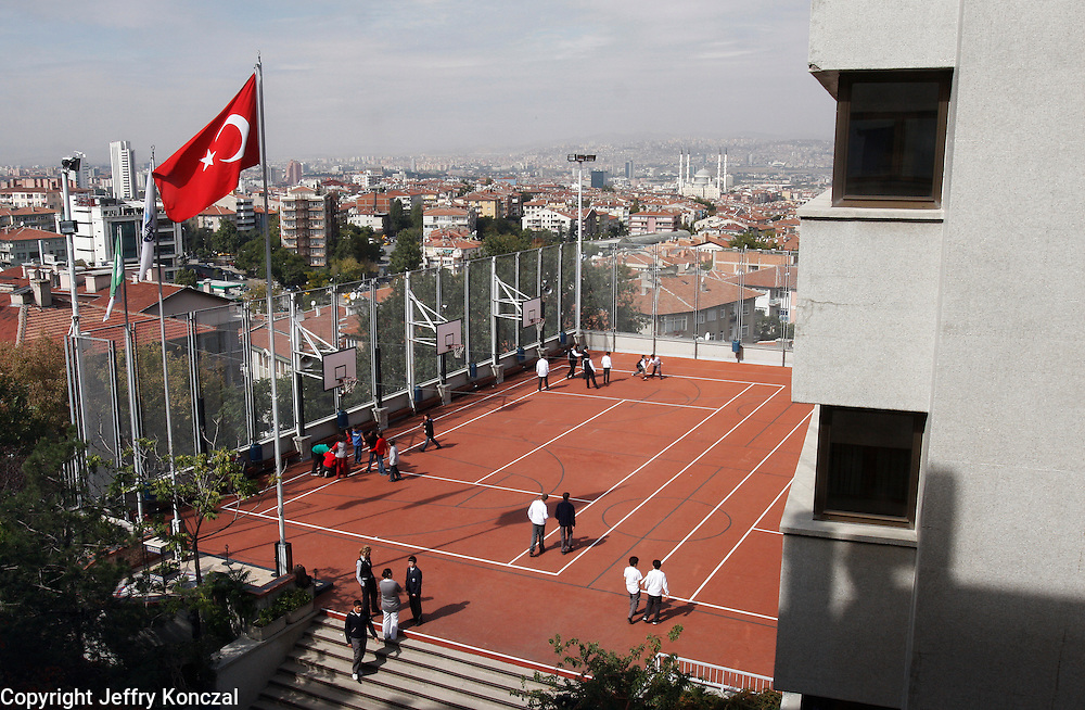A view of a school's athletic courts in Ankara, Turkey.
