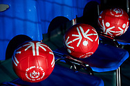 Katowice, Poland - 2017 September 01: Special Olympics balls lie on the chairs while Opening Ceremony during European Unified Volleyball Tournament 2017 at Spodek Hall on September 01, 2017 in Katowice, Poland.<br /> <br /> Adam Nurkiewicz declares that he has no rights to the image of people at the photographs of his authorship.<br /> <br /> Picture also available in RAW (NEF) or TIFF format on special request.<br /> <br /> Any editorial, commercial or promotional use requires written permission from the author of image.<br /> <br /> Image can be used in the press when the method of use and the signature does not hurt people on the picture.<br /> <br /> Mandatory credit:<br /> Photo by © Adam Nurkiewicz / Mediasport