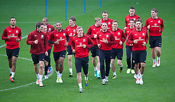 CARDIFF, WALES - Monday, October 15, 2012: Wales players during a training session at the Cardiff City Stadium ahead of the Brazil 2014 FIFA World Cup Qualifying Group A match against Croatia. Lewin Nyatanga, Sam Ricketts, captain Ashley Williams, Steve Morison, Hal Robson-Kanu, Craig Davies. (Pic by David Rawcliffe/Propaganda)