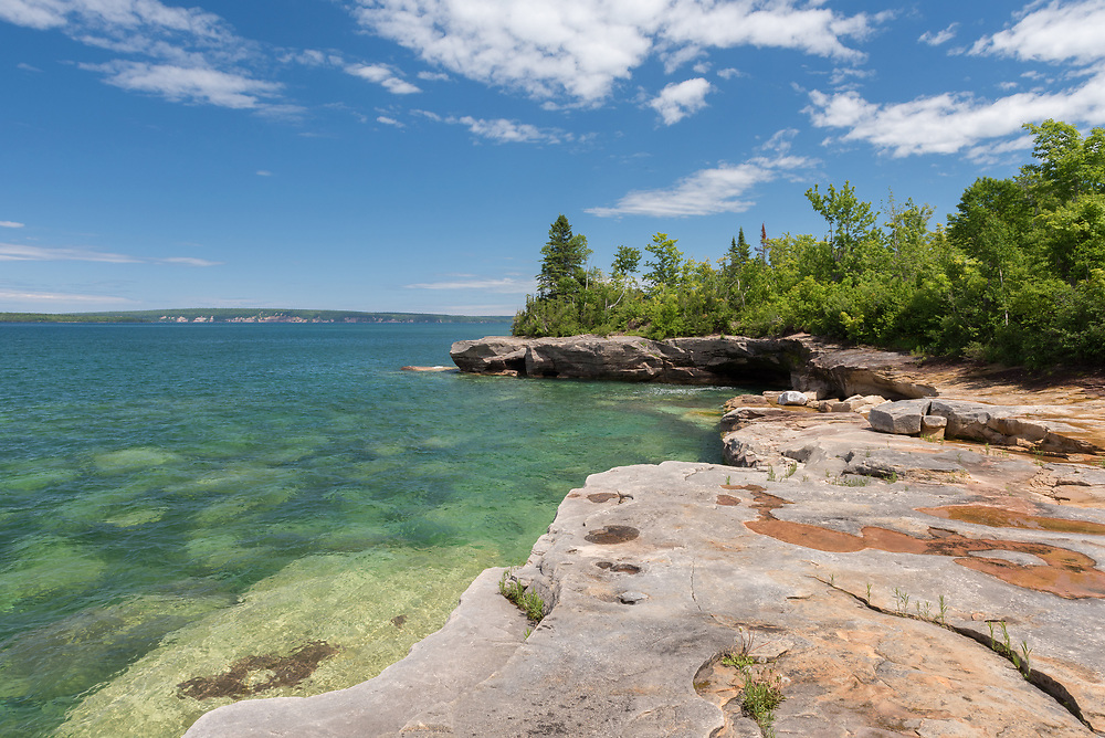 A sunny summer day on the Lake Superior shore.