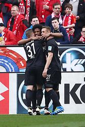 02.04.2016, Coface Arena, Mainz, GER, 1. FBL, 1. FSV Mainz 05 vs FC Augsburg, 28. Runde, im Bild Caiuby (FC Augsburg) bejubelt seinen Treffer zum 0:1 mit Philipp Max (FC Augsburg) und Dominik Kohr (FC Augsburg) // during the German Bundesliga 28th round match between 1. FSV Mainz 05 and FC Augsburg at the Coface Arena in Mainz, Germany on 2016/04/02. EXPA Pictures © 2016, PhotoCredit: EXPA/ Eibner-Pressefoto/ Neis<br /> <br /> *****ATTENTION - OUT of GER*****