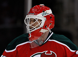 Mar 17, 2010; Newark, NJ, USA; New Jersey Devils goalie Martin Brodeur (30) during the first period at the Prudential Center.