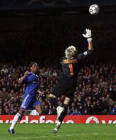 Photo: Paul Thomas.<br /> Chelsea v Valencia. UEFA Champions League. Quarter Final, 1st Leg. 04/04/2007.<br /> <br /> Didier Drogba (Blue) of Chelsea heads Chelsea level.