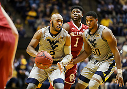 Jan 6, 2018; Morgantown, WV, USA; West Virginia Mountaineers guard Jevon Carter (2) dribbles during the second half against the Oklahoma Sooners at WVU Coliseum. Mandatory Credit: Ben Queen-USA TODAY Sports