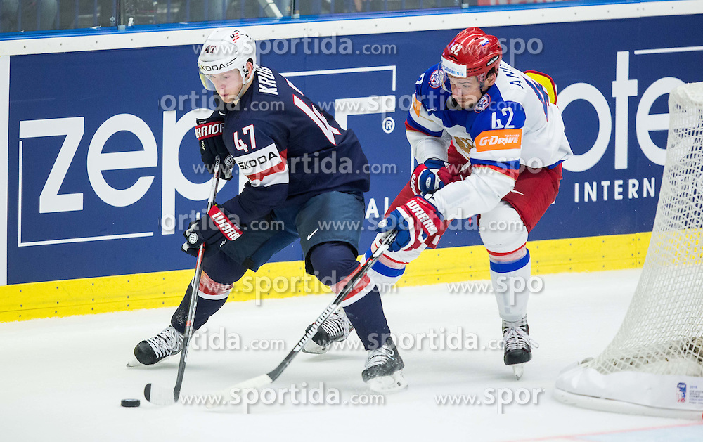 Torey Krug of USA vs Artyom Anisimov of Russia during Ice Hockey match between Russia and USA at Day 4 in Group B of 2015 IIHF World Championship, on May 4, 2015 in CEZ Arena, Ostrava, Czech Republic. Photo by Vid Ponikvar / Sportida