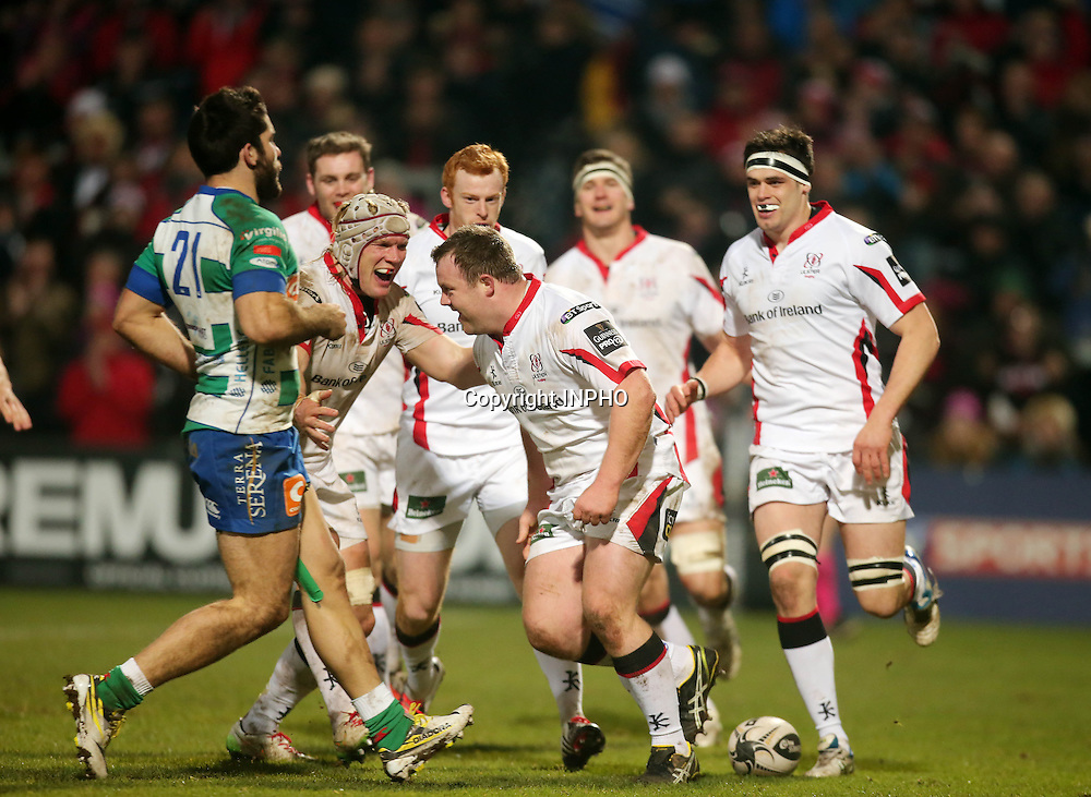 Guinness PRO12, Kingspan Stadium, Belfast 13/2/2015<br /> Ulster vs Benetton Treviso<br /> Ulster's Andrew Warwick celebrates his try with teammates<br /> Mandatory Credit &copy;INPHO/Presseye/Darren Kidd