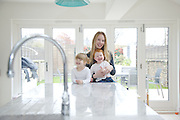 Lana Wrightman, Edie, 2 and 1/2 and Clara 18 months, at home on 31 Groombridge Road, Hackney, London CREDIT: Vanessa Berberian for The Wall Street Journal<br /> HACKNEY-Lana Wrightman