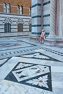 Europe, Italy, Tuscany, Toscana, Siena,Duomo di Siena, wonan sitting in front of marble cathedral, MR