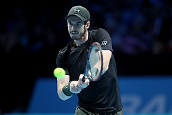 Andy Murray in action against Marin Cilic during day two of the Barclays ATP World Tour Finals at The O2, London.