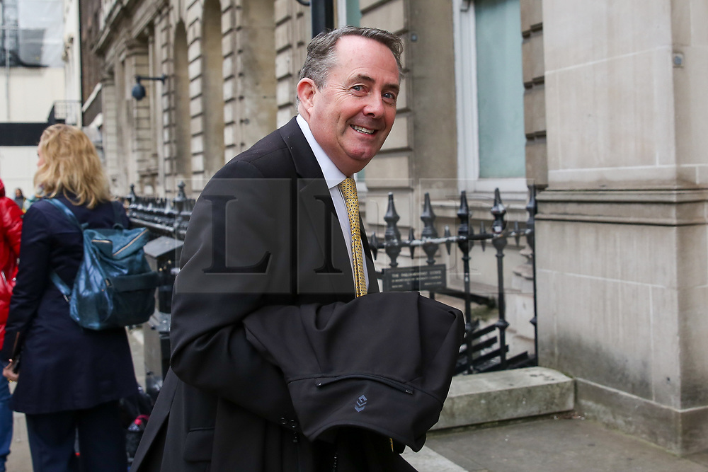 "© Licensed to London News Pictures. 23/10/2019. London, UK. Former Secretary of State for International Trade DR LIAM FOX is seen in Westminster. On Tuesday 22 October 2019, MPs rejected Prime Minister BORIS JOHNSON'S fast-track timetable for ratifying the Brexit deal and the government ""paused"" the parliamentary process — almost certainly ending any prospect of Brexit on 31 October.  Photo credit: Dinendra Haria/LNP"