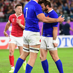 (L-R) Charles OLLIVON of France celebrates his try with Maxime MEDARD of France during the Rugby World Cup 2019 Quarter Final match between Wales and France on October 20, 2019 in Oita, Japan. (Photo by Dave Winter/Icon Sport) - Oita Stadium - Oita (Japon)