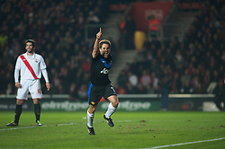SOUTHAMPTON, ENGLAND - Saturday, January 29, 2011: Manchester United's Michael Owen celebrates scoring the equalising goal to make it 1-1 during the FA Cup 4th Round match at St. Mary's Stadium. (Photo by Gareth Davies/Propaganda)