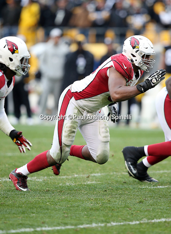 Arizona Cardinals defensive end Calais Campbell (93) rushes the quarterback during the 2015 NFL week 6 regular season football game against the Pittsburgh Steelers on Sunday, Oct. 18, 2015 in Pittsburgh. The Steelers won the game 25-13. (©Paul Anthony Spinelli)