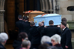 © Licensed to London News Pictures. 06/12/2016. Wakefield, UK. Two coffins being carried in to he funeral of Andrew Broadhead and his daughter Kiera takes place at Wakefield Cathedral in West Yorkshire. Andrew Broadhead, 42, died whilst trying to save his 8-year-old daughter Kiera from a house fire. Photo credit : Ian Hinchliffe/LNP