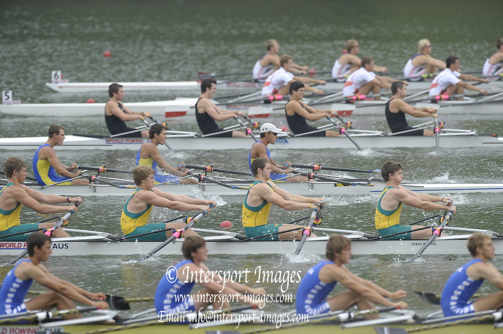 Brive, FRANCE,   AUS JM4X, Bow Louis SNELSON, Cameron SMITH, Benjimin MORLEY and David PROSSER move away from the start of the Junior men's quadruple scull semi final A/B,  at 'Lac du Causse', venue for the 2009 FISA Junior World Rowing Championships,  Brive La GAILLARDE. Friday  07/08/2009 [Mandatory Credit. Peter Spurrier/Intersport Images]