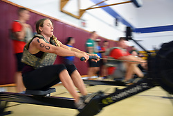 U. S. Air Force Capt. Theresa Whittler, 39th Medical Diagnostic Squadron patient care manager, tackles the rowing event during the Throw Down CrossFit competition at Incirlik Air Base, Sept. 29, 2018. Rowing was one of five strenuous exercise sequences members had to complete during the competition. (U.S. Air force photo by Staff Sgt. Matthew J. Wisher)