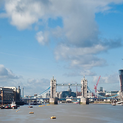 Panoramic view of the skyline in London including The Shard by Renzo Piano, Tower Bridge and skyscrapers of The City
