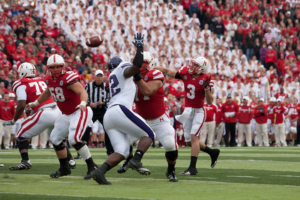 05 November 2011: Taylor Martinez #3 of the Nebraska Cornhuskers throws to Tim Marlowe #6 for a touchdown in the third quarter against the Northwestern Wildcats at Memorial Stadium in Lincoln, Nebraska.  Northwestern defeated Nebraska 28 to 25.