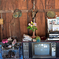 Old TV Inside Villager's House in Ban Xang Hai in Laos<br />