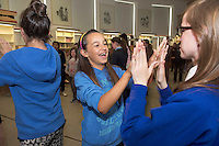 Stefanella Uglaefit and Esbe Robertshill from St John The Aposptle national school in Knocknacarra at the Galway education centre, for a Chinese experience  . Photo:Andrew Downes.]