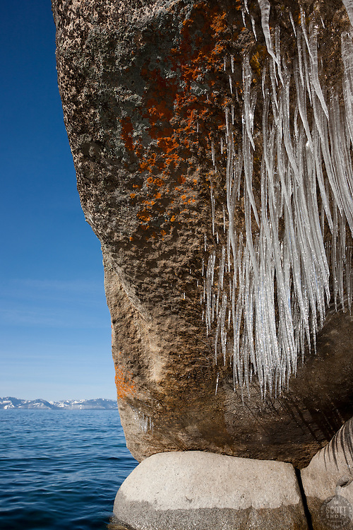 """""""Icicles on Tahoe Boulders 1"""" - These icicle covered boulders were photographed from a kayak in the early morning at Sand Harbor, Lake Tahoe."""