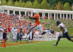 Virginia wide receiver Kevin Ogletree (20) leaps to make a catch at the 1 yard line against Richmond.  The Virginia Cavaliers defeated the #3 ranked (NCAA Division 1 Football Championship Subdivision) Richmond Spiders 16-0 in a NCAA football game held at Scott Stadium on the Grounds of the University of Virginia in Charlottesville, VA on September 6, 2008.