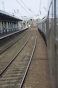 Railway lines electric power lines train, Ipswich, Suffolk, England