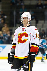 Feb 8, 2012; San Jose, CA, USA; Calgary Flames right wing Blake Comeau (10) warms up before the game against the San Jose Sharks at HP Pavilion. Calgary defeated San Jose 4-3. Mandatory Credit: Jason O. Watson-US PRESSWIRE
