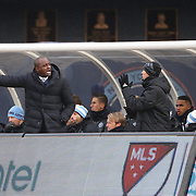 NEW YORK, NEW YORK - March 18: Head coach Patrick Vieira on New York City FC makes  point in the dugout during the New York City FC Vs Montreal Impact regular season MLS game at Yankee Stadium on March 18, 2017 in New York City. (Photo by Tim Clayton/Corbis via Getty Images)