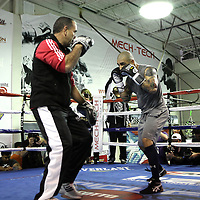 Miguel Cotto trains during media day at the Mech Tech Institute on Monday, November 19, 2012. Cotto will fight Austin Trout at Madison Square Garden on December 1.(AP Photo/Alex Menendez)