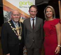 Repro free: At the Gorta Self Help Africa annual Ball at hotel Meyrick, Galway were Mayor of Galway Cllr Donal Lyons and Minister for Foreign aid Sean Sherlock TD. and Senator Lorraine Higgins Photo:Andrew Downes
