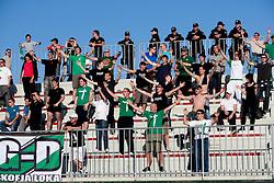 Green Dragons, fans of Olimpija during football match between NK Triglav Gorenjska and NK Olimpija in 27th Round of Slovenian 1st League PrvaLiga, on April 10, 2011 in Sports park Kranj, Slovenia. (Photo By Vid Ponikvar / Sportida.com)