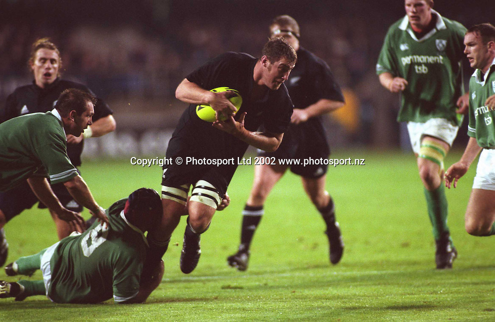 Chris Jack in action during the rugby union match between the All Blacks and Ireland, Eden Park, Auckland, 22 June, 2002. Photo: PHOTOSPORT