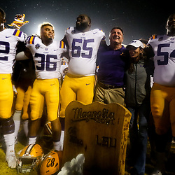 Sep 29, 2018; Baton Rouge, LA, USA; LSU Tigers head coach Ed Orgeron and players celebrate after a win against the Mississippi Rebels in a game at Tiger Stadium. LSU defeated Mississippi 45-16. Mandatory Credit: Derick E. Hingle-USA TODAY Sports