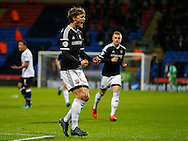 John Swift of Brentford celebrates scoring the opening goal during the Sky Bet Championship match between Bolton Wanderers and Brentford at the Macron Stadium, Bolton<br /> Picture by Mark D Fuller/Focus Images Ltd +44 7774 216216<br /> 30/11/2015