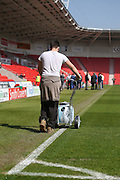 Getting the pitch ready during the Sky Bet League 1 match between Doncaster Rovers and Burton Albion at the Keepmoat Stadium, Doncaster, England on 8 May 2016. Photo by Simon Davies.