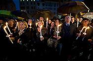 Roma 18  Aprile 2012.Fiaccolata davanti al Pantheon di imprenditori e lavoratori, sindacati, per dire basta ai tanti,  suicidi causati dalla  crisi economica.