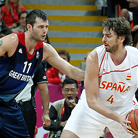 02 August 2012: Spain Pau Gasol posts up Great Britain Joel Freeland during 79-78 Team Spain victory over Team Great Britain, during the men's basketball preliminary, at the Basketball Arena, in London, Great Britain.