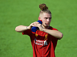NAPLES, ITALY - Tuesday, September 17, 2019: Liverpool's Harvey Elliott drinks water from a plastic bottle during the UEFA Youth League Group E match between SSC Napoli and Liverpool FC at Stadio Comunale di Frattamaggiore. (Pic by David Rawcliffe/Propaganda)