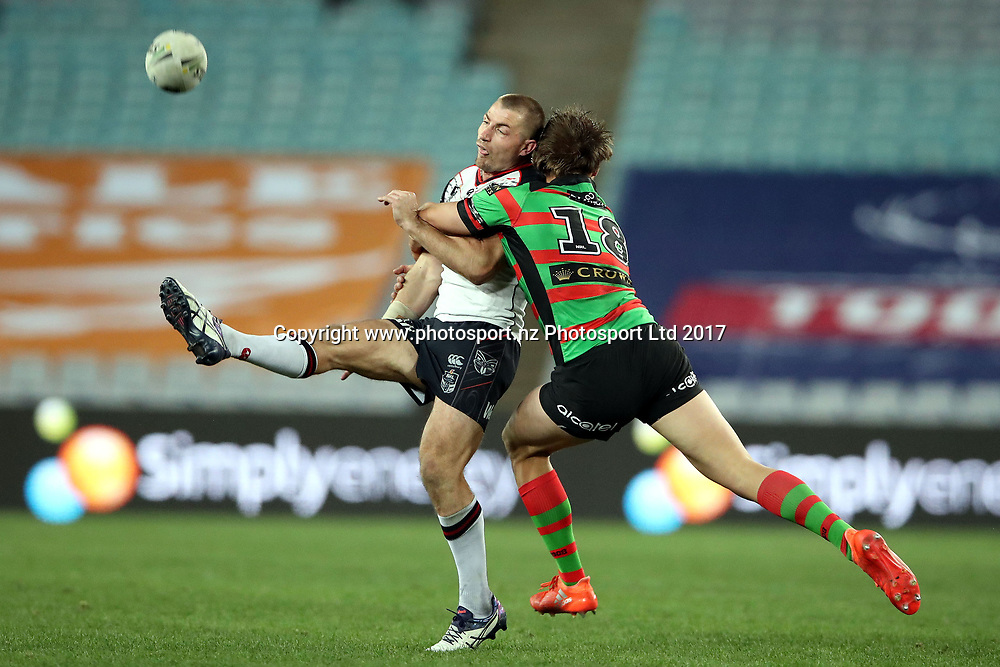 Kieran Foran gets the away under pressure from Jack Gosiewski<br /> Rabbitohs v Warriors NRL rugby league match at ANZ Stadium, Homebush Australia. Friday 18 August 2017. Photo: Paul Seiser / www.photosport.nz