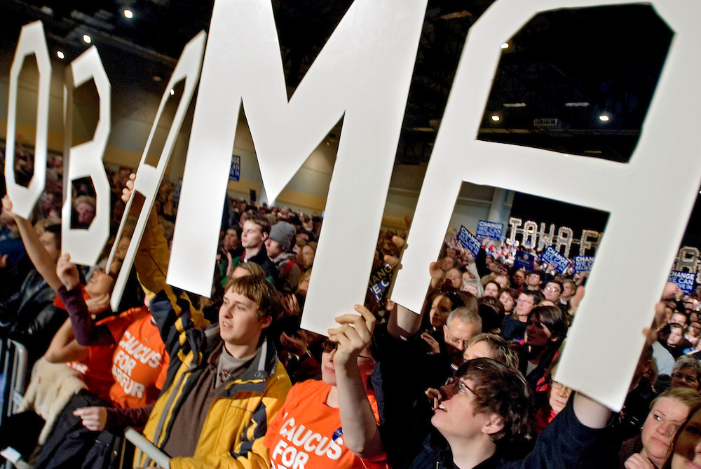 Barack Obama rally in Des Moines, Iowa.Students from Drake University..Photo by Chris Maluszynski /MOMENT