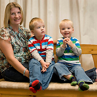 Siobhan Moncrieff from Perth pictured with her three year old twin sons Ewan (red stripe) and Finlay (green stripe),<br /> Picture by Graeme Hart.<br /> Copyright Perthshire Picture Agency<br /> Tel: 01738 623350  Mobile: 07990 594431